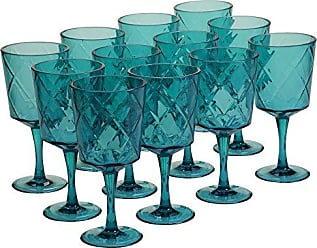 Certified International Teal 13 oz Acrylic All Purpose Goblets (Set of 12), Teal