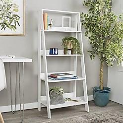 Walker Edison WE Furniture 55 Wood Ladder Bookshelf - White