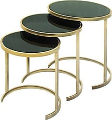 Deco 79 50396 Metal Glass Nest Tables (Set of 3), 21/19/17