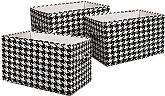 Triangle Home Fashions Lush Decor Houndstooth Fabric Covered 3 Piece Collapsible Storage Box Set, 16 x 12 x 10, Black/White