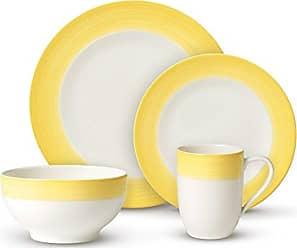 Villeroy & Boch Colorful Life Lemon Pie Dinner Set by Villeroy & Boch - Premium Porcelain - Made in Germany - Dishwasher and Microwave Safe - Serves 2