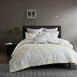 Urban Habitat Matti Comforter Set Full/Queen Bedding Sets Bed in A Bag - Pale Aqua, Yellow, Medallion - 7 Piece Teen Bed Set - 100% Cotton Percale Bed Comforter