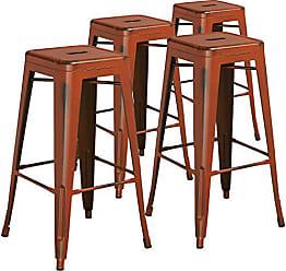 Flash Furniture 4 Pk. 30 High Backless Distressed Orange Metal Indoor-Outdoor Barstool
