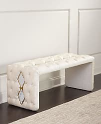 Haute House Home Elisa Marble Inlay Tufted Bench