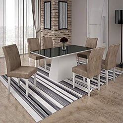 Leifer Conjunto Sala de Janta Mesa Tampo Preto 6 Cadeiras Olimpia Leifer Branco/Preto/Capuccino