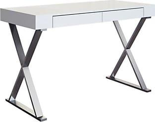 Whiteline 1 Drawer Large Elm Desk with Stainless Steel Base - High Gloss White - DK1205L-WHT
