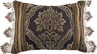 Five Queens Court Reilly Woven Chenille Damask Boudoir Decorative Pillow Throw Pillow, Black/Gold