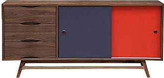 Kardiel Color Pop Mid-Century Modern Sideboard Credenza, Walnut/Orange/Charcoal Doors