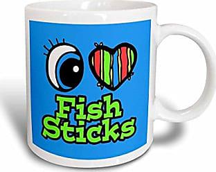 3D Rose 106070_6Bright Eye Heart I Love Fish Sticks Two Tone Mug 11 oz Blue