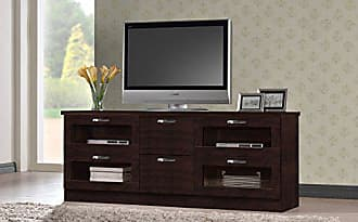Wholesale Interiors Baxton Studio Wholesale Interiors Adelino Wood TV Cabinet with 4 Glass Doors and 2 Drawers, 63, Dark Brown