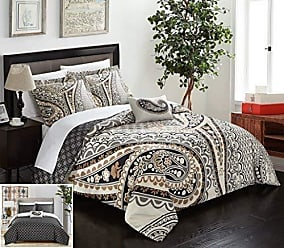 Chic Home 4 Piece Soliel Large Scale Paisley Contemporary Reversible Printed with Embroidered Details King Duvet Cover Set Beige