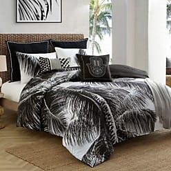 Caribbean Joe Palm Comforter Set 4 Piece - Black/White - Size: King