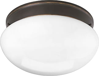 PROGRESS P3412-20 Two-light close-to-ceiling in Antique Bronze finish with white glass