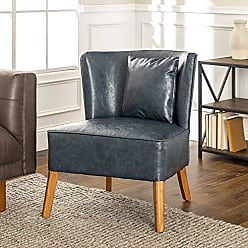 Walker Edison WE Furniture AZH31UPCBBU Accent Chair, Navy Blue