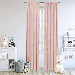 Duck River Textile Lala + Bash - Juniper Floral Vine Sheer Burnout Pole Top Window Curtains for Living Room & Bedroom - Assorted Colors - Set of 2 Panels (38 X 63 Inch - Blush)