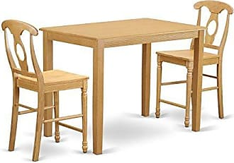 East West Furniture YAKE3-OAK-W 3 Piece Counter Height Pub Table and 2 Chairs Set