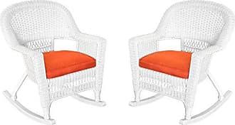 Jeco W00206R-B_2-FS018 Rocker Wicker Chair with Red Cushion, Set of 2, White