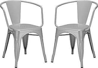Poly and Bark Trattoria Arm Chair in Grey (Set of 2)