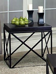 Round Hill Furniture Erica Black Metal and Espresso Wood End Table
