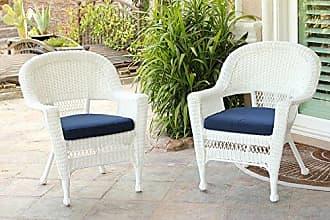 Jeco W00206-C_2-FS011-CS Wicker Chair with Blue Cushion, Set of 2, White/W00206