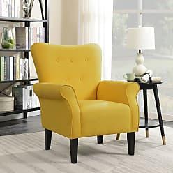 Overstock Belleze Modern Linen Accent Chair Armrest Living Room w/ Wood Leg, Citrine Yellow