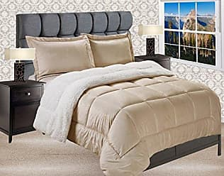 Elegant Comfort Premium Quality Heavy Weight Micromink Sherpa-Backing Reversible Down Alternative Micro-Suede 3-Piece Comforter Set, King, Solid Gold