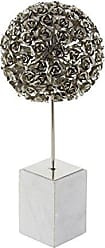 Deco 79 72950 Metal and Marble Rose Ball Sculpture, 19 x 8, Silver/White