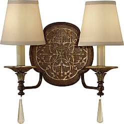 Feiss WB1530BRB/OBZ Marcella Wall Sconce in British Bronze / Oxidized Bronze finish with Beige Hardback w/ Fabric