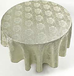 Ben&Jonah Ben & Jonah Sage Color 70 Round Polyester Fabric Tablecloth in A Floral Rose Damask Pattern Splash Collection, Sage