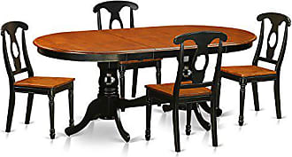 East West Furniture PLKE5-BCH-W 5 Piece Dining Table and 4 Solid Wood Chairs Set