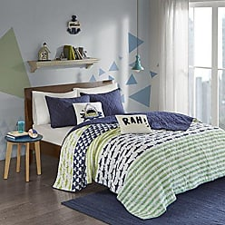 Urban Habitat Finn Twin/Twin Xl Bedding Sets Boys Quilt Set - Green, Navy, Shark Stripe - 4 Piece Kids Quilt For Boys - 100% Cotton Quilt Sets Coverlet