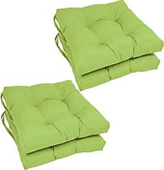 Blazing Needles Solid Twill Square Tufted Chair Cushions (Set of 4), 16, Mojito Lime