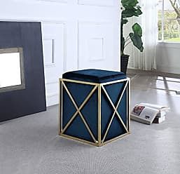 Iconic Home Vana Ottoman Brass Finished Stainless Steel X Frame Square Velvet Bench, Contemporary Modern, Navy