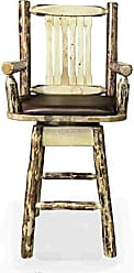 Montana Woodworks MWGCBSWSCASSADD Glacier Country Collection Captains Barstool with Back & Swivel with Upholstered Seat, Saddle Pattern