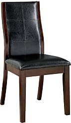 FURNITURE OF AMERICA Cypress Leatherette Parson Dining Chair, Black, Set of 2