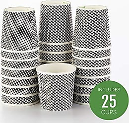 Restaurantware Disposable Paper Hot Cups - 25ct - Hot Beverage Cups, Paper Tea Cup - 4 oz - Houndstooth - No Need For Sleeves - Insulated - Wholesale - Takeout Coffee Cup - Restaurantware