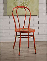 Benzara BM185397 Metal Side Chairs with Distressed Rubbing Accents, Set of Two, Orange