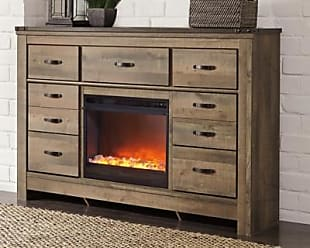 Ashley Furniture Trinell Dresser with Fireplace, Brown