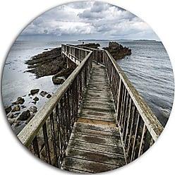 DESIGN ART Designart Wooden Pier on North Irish Coastline - Sea Bridge Circle Wall Art - Disc of 23, 23 x 23, Blue