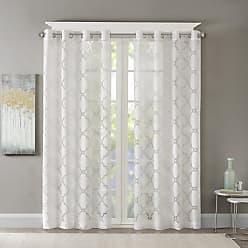 Madison Park Laya Fretwork Burnout Sheer Curtain Panel White