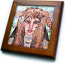 3D Rose ft_3639_1 Maiden of The Red Tailed Hawk Framed Tile, 8 by 8-Inch
