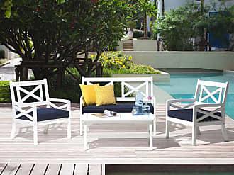 Beliani Gartenmöbel Set Holz Weiss 4 Sitzer Auflagen Blau BALTIC