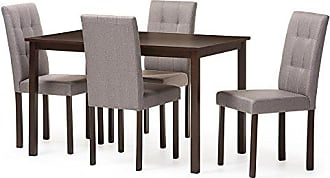 Wholesale Interiors Baxton Studio 5 Piece Andrew Modern and Contemporary Fabric Upholstered Grid-Tufting Dining Set, Gray