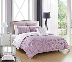 Chic Home 10 Piece Assent Ruffled pinch pleat border with piping detail, REVERSIBLE contemporary printed pattern Queen Bed In a Bag Comforter Set Lavender