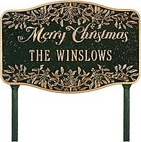 Whitehall Personalized Merry Christmas Yard Sign In Cast Aluminum, in Green