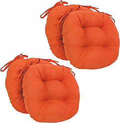 Blazing Needles Solid Microsuede Round Tufted Chair Cushions (Set of 4), 16, Tangerine Dream