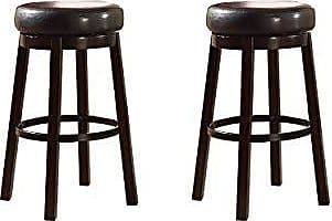 Round Hill Furniture Wooden Swivel Barstools, Bar Height, Bister Brown, Set of 2