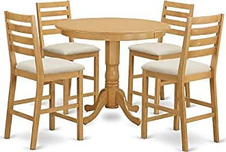 East West Furniture TRCF5-OAK-C 5 Piece Pub Table and 4 Kitchen Chairs Set