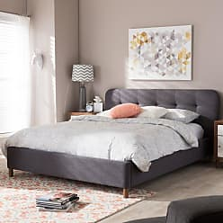 Baxton Studio Germaine Fabric Platform Bed Dark Gray, Size: Queen - BBT6569-DARK GREY-QUEEN