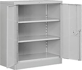 Salsbury Industries Heavy Duty Assembled Counter Height Storage Cabinet, 42-Inch High by 18-Inch Deep, Gray